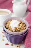 自创格兰诺拉麦片用在碗关闭的goji浆果和酸奶 免版税库存照片