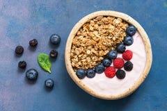 自创格兰诺拉麦片用酸奶、蓝莓和莓在蓝色背景 有机早餐健康吃的概念 免版税库存照片