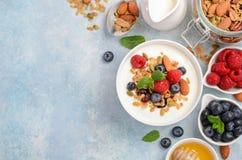 自创格兰诺拉麦片用酸奶和新鲜的莓果,健康早餐概念 免版税图库摄影