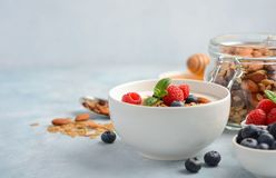 自创格兰诺拉麦片用酸奶和新鲜的莓果,健康早餐概念 图库摄影
