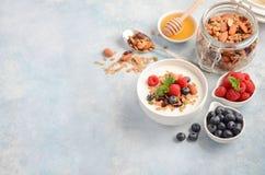 自创格兰诺拉麦片用酸奶和新鲜的莓果,健康早餐概念 免版税库存照片
