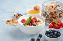 自创格兰诺拉麦片用酸奶和新鲜的莓果,健康早餐概念 库存图片