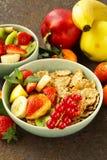 自创格兰诺拉麦片muesli用水果沙拉 图库摄影
