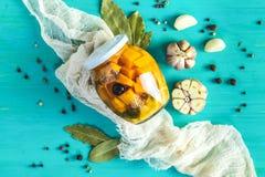 自创橙色被切的南瓜腌汁 库存图片