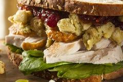 自创残余感恩晚餐火鸡肉三明治 库存照片