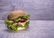 自创汉堡用牛肉炸肉排,与芝麻籽的小圆面包在灰色背景 免版税库存照片