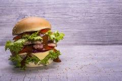 自创汉堡用牛肉炸肉排,新鲜蔬菜沙拉,蕃茄,葱,乳酪,番茄酱,与芝麻籽的小圆面包在灰色 库存照片