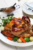 自创烘烤火鸡,感恩圣诞晚餐 免版税库存图片