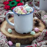 自创热巧克力冠上了用在搪瓷杯子,在木日志,在背景,正方形的温暖的围巾的逗留的蛋白软糖 免版税库存图片