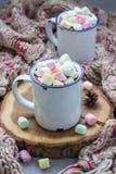 自创热巧克力冠上了用在搪瓷杯子,在背景的温暖的围巾的蛋白软糖 库存照片