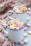 自创热巧克力冠上了用在搪瓷杯子,在背景的温暖的围巾的蛋白软糖 免版税库存图片