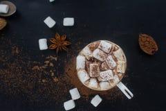 自创热巧克力用蛋白软糖、桂香和香料在黑暗的背景,顶视图 圣诞节或新年饮料 免版税库存照片