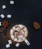 自创热巧克力用蛋白软糖、桂香和香料在黑暗的背景,顶视图 圣诞节或新年饮料 免版税图库摄影