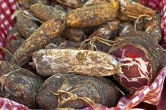 自创熏制的pancetta 库存图片