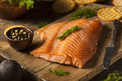 自创熏制鲑鱼开胃菜 库存照片