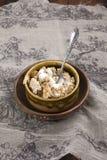 自创燕麦粥咬嚼用牛奶 库存照片