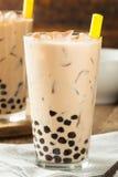 自创牛奶泡影茶用珍珠粉 免版税图库摄影