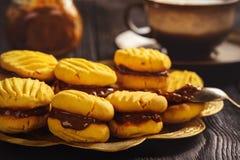 自创玉米一种油脂含量较高的酥饼用焦糖调味汁 库存照片