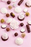 自创甜点的分类 蛋白软糖和巧克力 库存图片