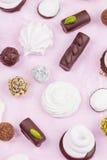 自创甜点的分类 蛋白软糖和巧克力 图库摄影