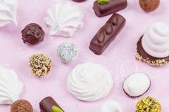 自创甜点的分类 蛋白软糖和巧克力 免版税图库摄影