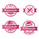 自创甜点红色标记徽章被设置 免版税库存照片