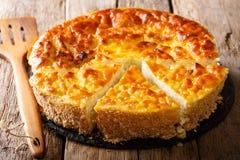 自创甜米糕用酸奶干酪,鸡蛋,桂香和 图库摄影