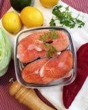 自创盐味的三文鱼 库存照片