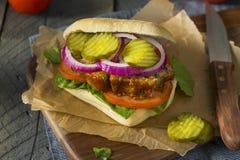 自创美味肉饼三明治 免版税库存图片