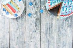 自创美国独立日蛋糕 免版税库存照片