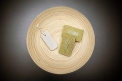 自创肥皂和浮岩在一块木板材 库存照片