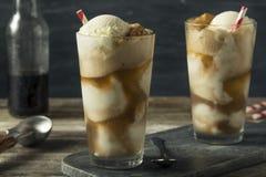 自创苏打黑色母牛冰淇凌浮游物 免版税库存照片