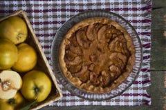 自创苹果柑橘饼用在土气木bac的新鲜水果 图库摄影