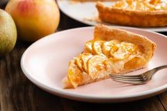 自创苹果饼馅饼的部分在一个桃红色盘的 免版税库存照片