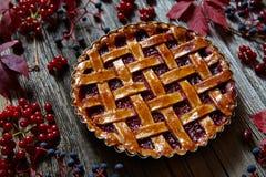 自创莓饼馅饼用新鲜的莓和果酱 秋天栗子装饰葡萄10月石榴木头 库存图片
