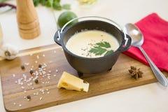 自创菜乳酪汤 新鲜的有机奶油色汤膳食食物 库存图片