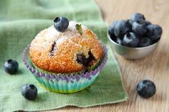 自创蓝莓松饼用新鲜的蓝莓 免版税库存照片