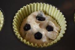 自创蓝莓松饼面团 免版税库存照片
