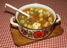 自创蔬菜汤用抱子甘蓝 库存照片