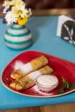 自创薄煎饼用甜酸奶干酪 免版税库存图片