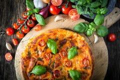自创薄饼margherita用无盐干酪、蓬蒿和蕃茄 免版税库存照片