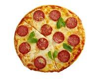 自创薄饼Pepperoni.Closeup 免版税库存照片