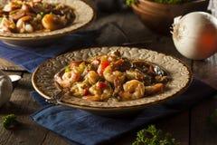 自创虾和香肠Cajun浓汤 免版税图库摄影
