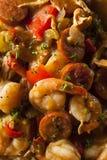 自创虾和香肠Cajun浓汤 免版税库存图片