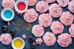 自创蛋白软糖,蓬松点心和风,桃红色漩涡蛋白甜饼 图库摄影