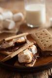 自创蛋白软糖s `习俗用在薄脆饼干的巧克力 免版税库存图片