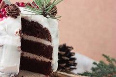 自创蛋糕片断与柿子的装饰用结霜乳脂干酪和洒用在新年decorati的巧克力 免版税库存图片