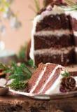 自创蛋糕片断与柿子的装饰用结霜乳脂干酪和洒用在新年decoratio的巧克力 免版税库存图片