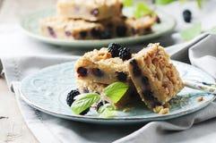 自创蛋糕用黑莓 库存照片