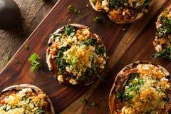 自创被烘烤的被充塞的Portabello蘑菇 免版税库存照片